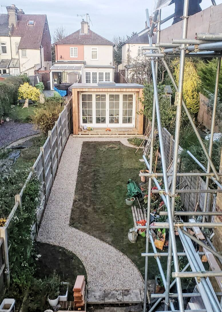 Garden Office Studio with footpath in Potters Bar builders Barnet Borehamwood Bushey Camden Colindale Edgware Enfield Finchley Golders Green Hampstead Hemel Hempstead Hendon Hertfordshire Islington Kensington Mill Hill Potters Bar Radlett Reading St Albans Stoke Newington Swiss Cottage Watford Wembley