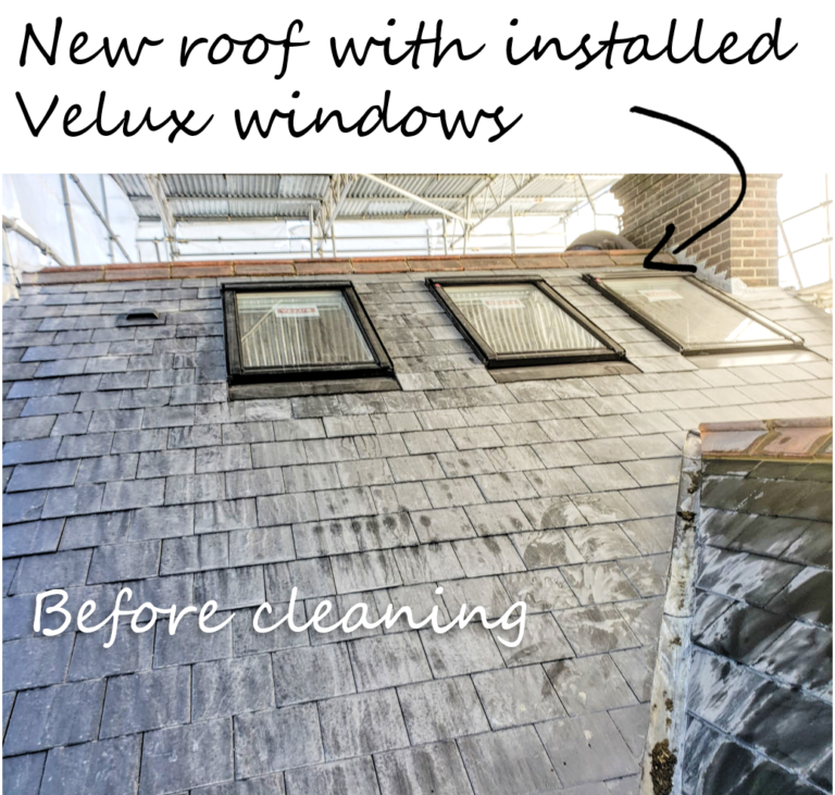 before cleaning, new roof, Velux windows